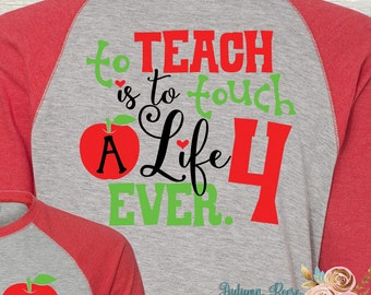 Monogrammed Teach Teacher Shirt Baseball Style Shirt Long Sleeved