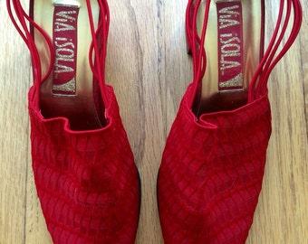 Vintage Red Party Shoes! Vintage Slingbacks