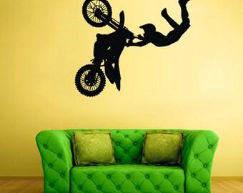 rvz1946 Wall Vinyl Sticker Bedroom Decal Jump Dirt Bike Moto Motorcycle