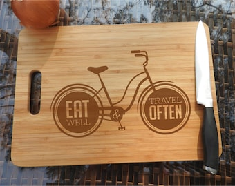 ikb302 Personalized Cutting Board Wood inscription bicycle journey food restaurant kitchen