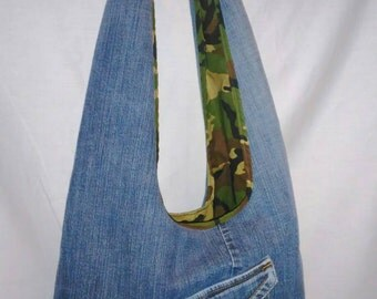 Recycled denim bag, upcycled jean bag, large denim purse, boho bag, hobo denim bag, denim slouch, camo lining