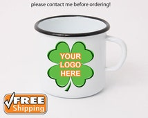 Enamel Mug Logo/Print White Enamel Camping Mug with Black Rim Custom Enamelware Custom Enamel Mug Coffee Cup Personalized Enameled Steal Mug