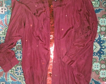 Carole Little Red Silk top sz. 6 - 8 - 10, oversized, cranberry, sequins, VINTAGE, holiday-ready