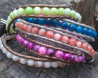 Beaded Wrap Bracelet with Button Clasp