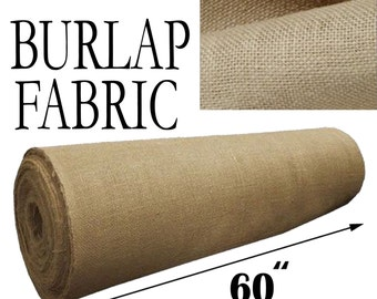 """Burlap Jute Fabric. 60"""" Wide. Different Sizes Bolts. Premium 8oz Natural Free Shipping!!"""
