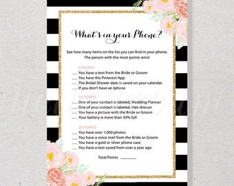 What's in Your Phone, Printable Bridal Shower Games, Pink Flower Watercolor, Black and White Stripes - SKUHDG12
