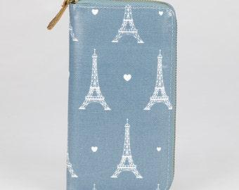 Oilcloth Zip around Wallet - Paris Eiffel Tower purse- Oil cloth ladies purse- Ladies Zip wallet - Coin purse- Laminated cotton- Iphone Plus