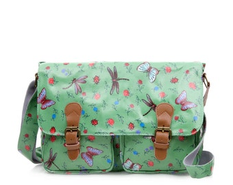 College Crossbody laptop bag- Oilcloth Zip computer bag - Butterfly Dragonfly - School Messenger bag - Oil cloth ladies purse - Waterproof