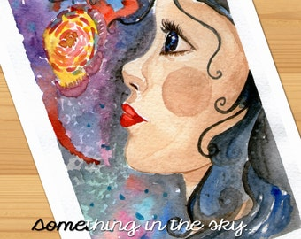 "Watercolor print of my tebnderness watercolor ""Something in the sky"""