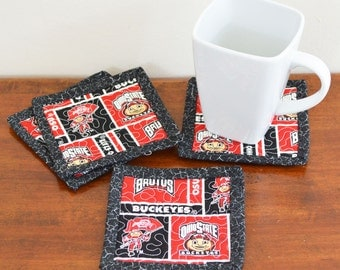 OSU Brutus Buckeye Quilted Coasters set of 4