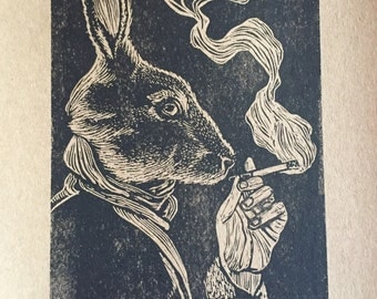 Smoking bunny by Charles State signed and numbered