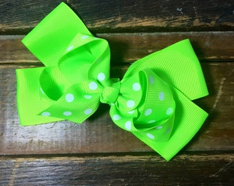 Lime green hairbow