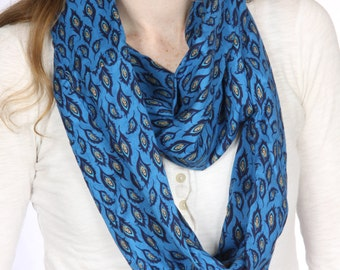 Blue Feather Infinity Scarf