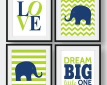 50% OFF Navy Elephant Nursery Art, Baby Room Wall Art, Set of 4 prints, Navy And Lime Green Nursery Decor, Chevron Wall Art, Love, Dream Big