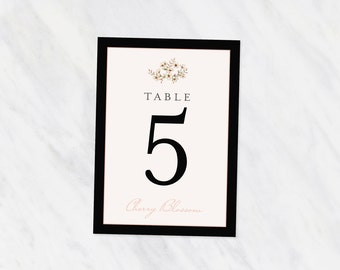 Printed Table Numbers -  Wedding Suite -  cherry blossom -  printed set -  formal -  blush and black