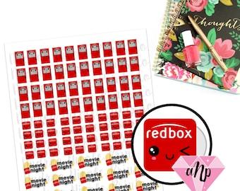 Printable Kawaii RedBox Movie Rental Planner Stickers for ECLP MAMBI Filofax