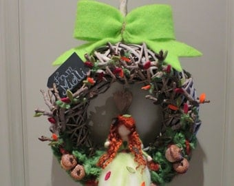 Autumn Garland with fairy in carded wool