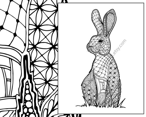 bunny rabbit coloring sheet, animal coloring pdf, zentangle colouring page, zentangle animal intricate design sketch pdf, grown up coloring