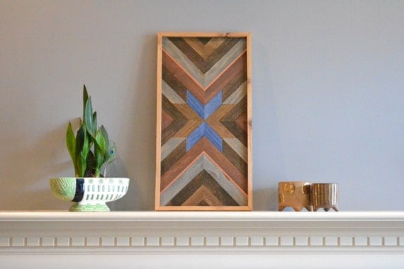Wood wall art, tabletop, brown/blue/natural/copper/gray, cedar frame ...