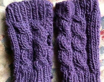 Eggplant Cable-Knit Fingerless Gloves