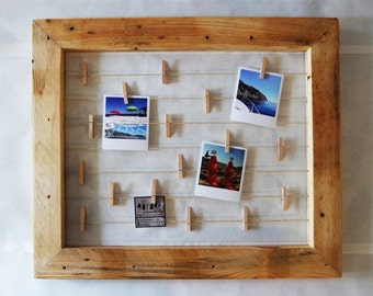 Wire-frame Hang photos with clothes pegs-handmade from salvaged pallet. From wall