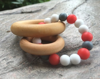 Teething Toy, Maple Wood Rings, Silicone Beads, White, Red, & Grey