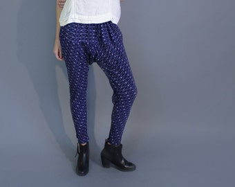 indigo blue handmade tribal print drop crotch harem pants