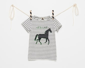 Horse print t-shirt, short sleeve