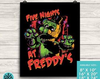 "New Five Nights At Freddy's Poster Fazbear Art Print Matte Finish All Sizes 18""X24"""