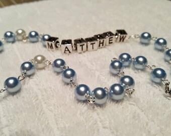 Swarovski pearl beaded light blue rosary with name
