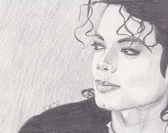 Michael Jackson Original Drawing / Pencil drawing, hand drawn original fine art