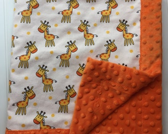 Baby Blanket - Flannel and Minky - Giraffes with Orange Minky - 28 x 31- Baby Gift