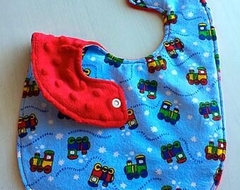 Baby Bib for Boy - Flannel and Minky - Choo Choo Trains - Baby Shower Gift