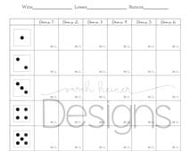 Bunco Score Sheet / 6 games / black and white / 8.5 x 11 / Instant Download