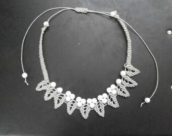 petal chain macrame necklace