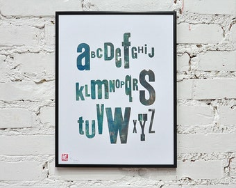 Blue alphabet - letterpress poster