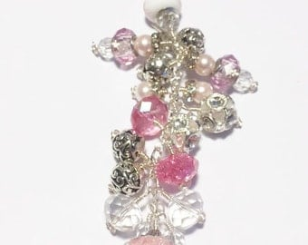 PC00003 Cancer Pink  Purse Bag Charm