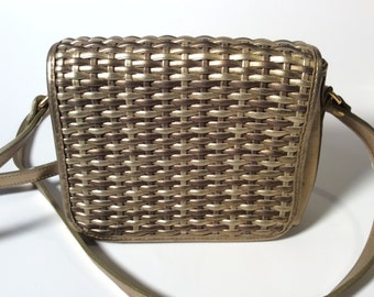 Vintage Lord and Taylor Basket Weave Gold Purse