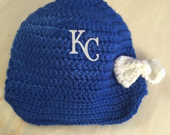 Crochet KC Royals Baby Hat