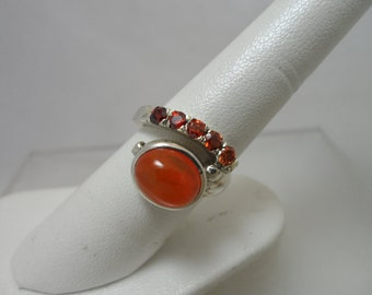 Fire Opal and Orange CZ Sterling Ring