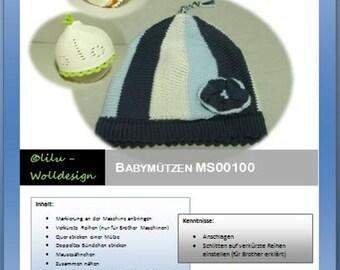 PDF Anleitung für die Strickmaschine Babymützen MS00100, Machine knitting, pattern