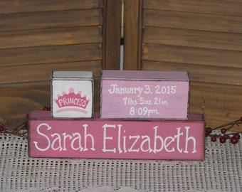 Baby girl birth announcement wood blocks personalized gift primitive nursery stacking blocks princess birth nursery shelf sitter new baby