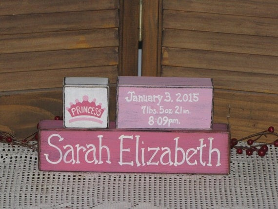 Baby Girl Birth Announcement Wood Blocks Personalized Gift