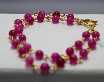 Fuchsia Quartz Double Strand Gold Bracelet