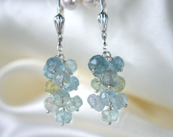 Aquamarine Beryl grapes earrings aquamarine Keshi grape earrings