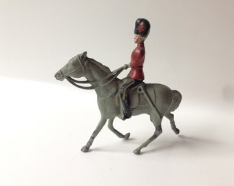 Vintage Johillco Horse Mounted with Red Coat Lead Toy Soldier