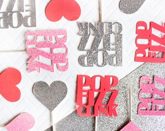12 Pop Clink Fizz Valentine's Day Cupcake Toppers // Valentine's Day Cupcakes // Pop Clink Fizz // Valentine's Day Party // Engagement Party