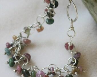 Tiny Multi-Colored Tourmaline Cluster Bracelet