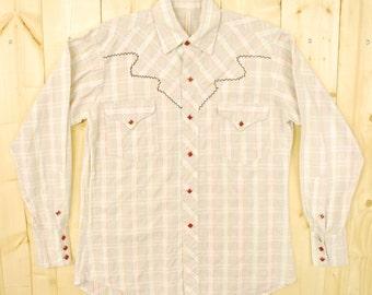 Vintage 1950's/60's Checkered Cotton Western Shirt / Cowpunk /Retro Collectable Rare
