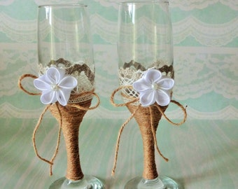 burlap and lace toasting flutes, wedding champagne flutes, rustic toasting glasses, bride groom glasses, toasting champagne glasses